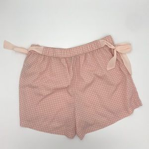 AERIE | Light pink gingham flowy shorts w side tie